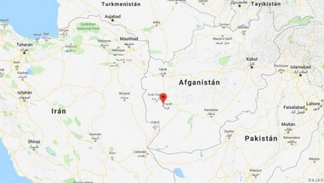 Localización de la provincia de Farah, donde ha tenido lugar el accidente.