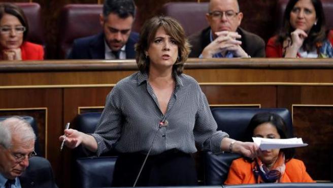 Dolores Delgado, en una sesión de control al Gobierno.