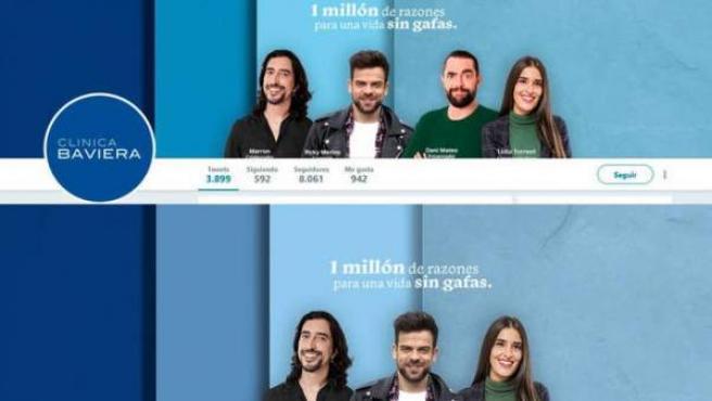 Imagen del antes y el después de la campaña en redes de Clínica Baviera, actualmente sin la foto de Dani Mateo.
