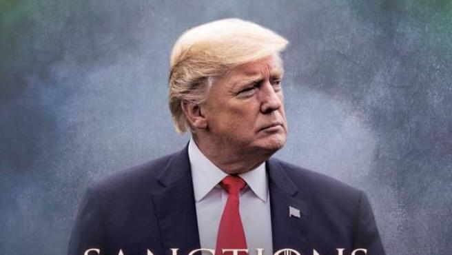 Imagen publicada por Donald Trump en el que anuncia nuevas sanciones a Irán con la tipografía de la serie 'Juego de tronos'.