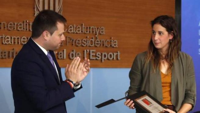 Erika Villaécija, durante el acto en el que anunció que se retira de la natación.