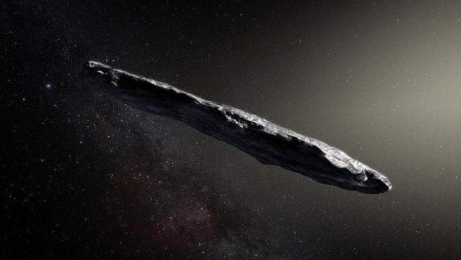 Recreación elaborada por la NASA del asteroide 'Oumuamua.