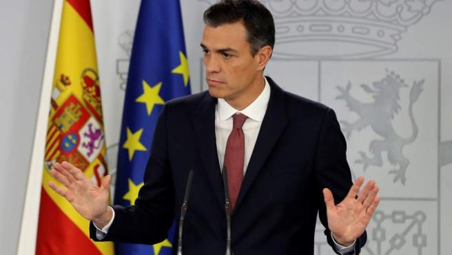 El presidente del Gobierno, Pedro Sánchez, durante la rueda de prensa que ha ofrecido en el Palacio de La Moncloa.