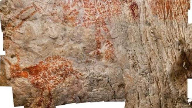 Pinturas rupestres en una cueva de la provincia de Kalimantan, en la isla indonesia de Borneo.