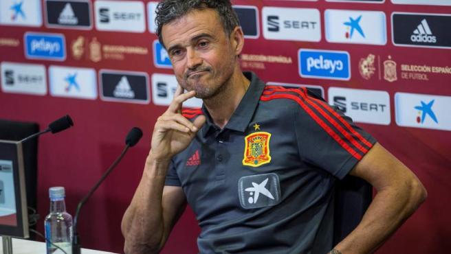 El seleccionador español de fútbol, Luis Enrique Martínez, durante una rueda de prensa.