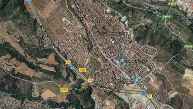 Vista aérea de la localidad de Esparreguera, en Barcelona.