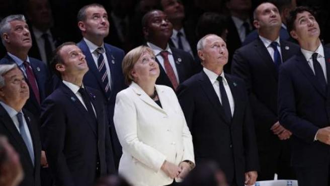 De izquierda a derecha, el secretario general de la ONU, Antonio Guterres; el presidente de Francia, Emmanuel Macron; la canciller de Alemania, Angela Merkel; el presidente de Rusia, Vladimir Putin; y el primer ministro de Canadá, Justin Trudeu, en el Foro por la Paz, en París, en el centenario del final de la I Guerra Mundial.