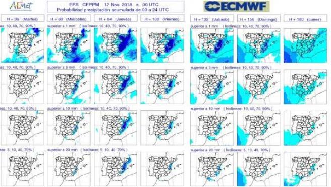 Mapas descriptivos de la previsión sin lluvias en CyL