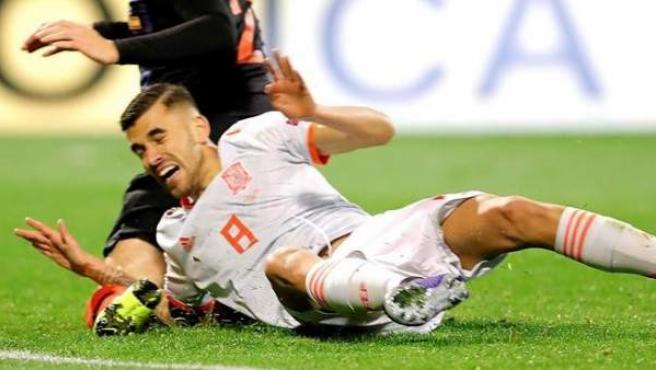 Ceballos, durante el partido entre Croacia y España.