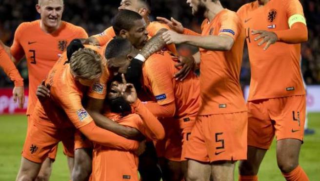 Holanda celebra un gol ante Francia
