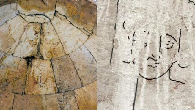 Montaje de fotos con el lugar de Israel donde se halló una representación de Cristo.