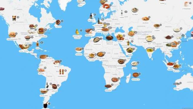 Imagen del mapa interactivo por donde se puede navegar y ver los platos típicos de cada país.