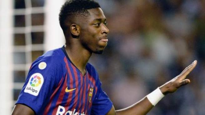 Ousmane Dembélé, en el Valladolid-Barcelona de Liga.