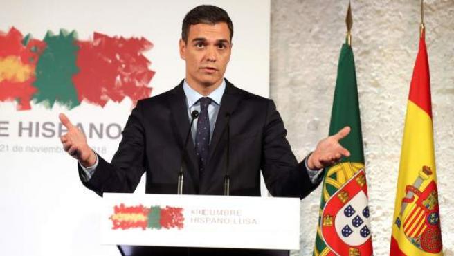 Pedro Sánchez, durante la Cumbre Hispano-Portuguesa celebrada en Valladolid