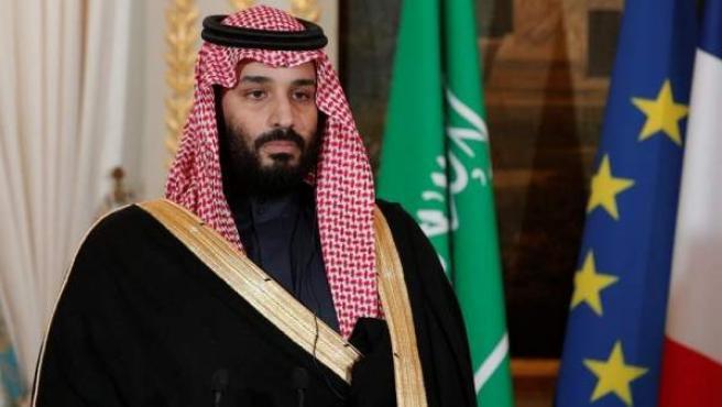 El príncipe heredero de Arabia Saudí, Mohammed bin Salman, en el Palacio del Elíseo, en París, durante su visita oficial a Francia.