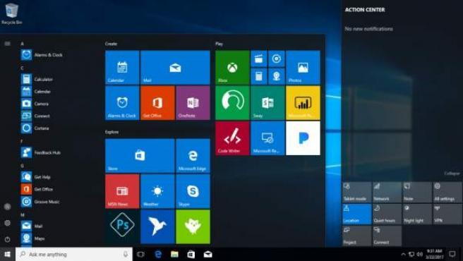 Página de inicio de Windows 10.