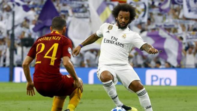Marcelo, durante el Real Madrid-Roma de la Champions League 2018/19.
