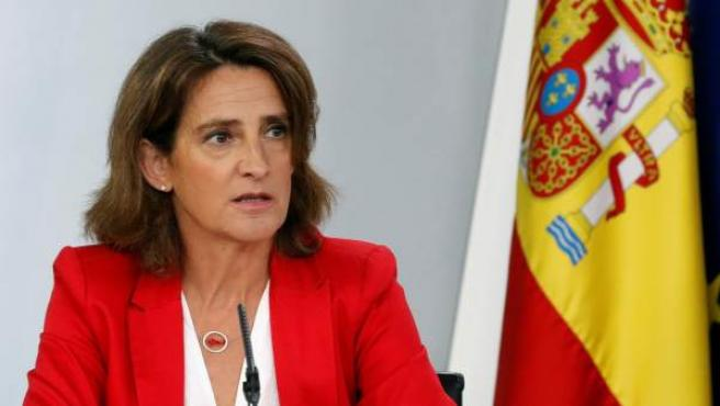 Teresa Ribera, en la rueda de prensa del consejo de Ministros.