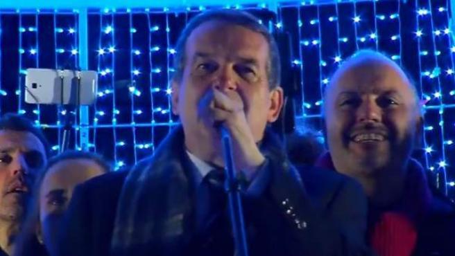 El alcalde de Vigo, Abel Caballero, inaugura la iluminación navideña.
