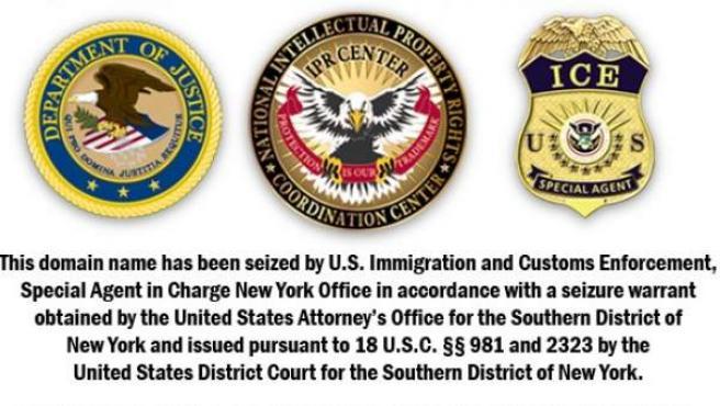 Aviso de dominio de internet clausurado por el Servicio de Inmigración y Control de Aduanas (ICE) de EE UU, en una imagen de archivo.