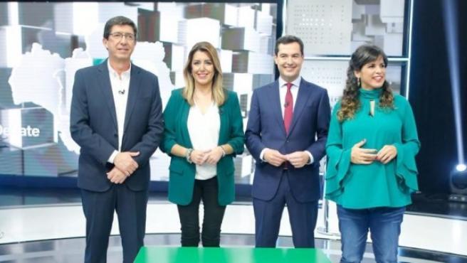 Las candidatas y candidatos a las elecciones andaluzas en el debate en Canal Sur.