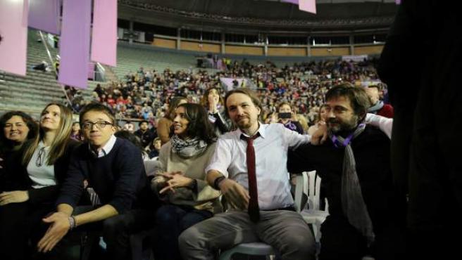 Errejón, Iglesias y Mayoral durante en Congreso de Podemos, Vistalegre