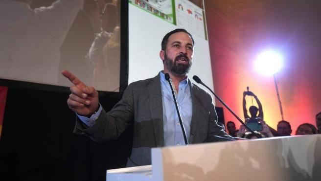 El presidente de Vox, Santiago Abascal, valora los resultados en las elecciones andaluzas en su intervención ante los militantes y simpatizantes reunidos esta noche en un hotel de Sevilla.