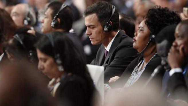 El presidente del Gobierno español, Pedro Sánchez, durante la sesión inaugural de la Cumbre del Clima (COP24).