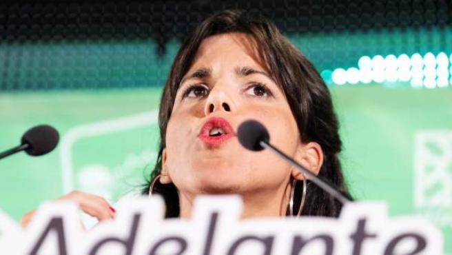 La candidata a la presidencia de la Junta de Andalucía por Adelante Andalucía, Teresa Rodríguez.