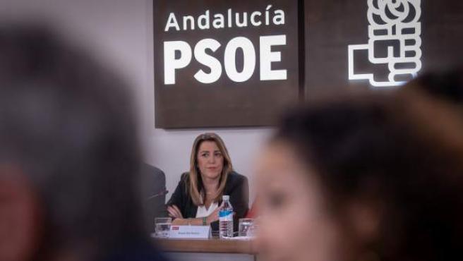 La presidenta andaluza y secretaria general del PSOE-A, durante la reunión del Comité Ejecutivo que ha presidido en la sede del partido en Sevilla