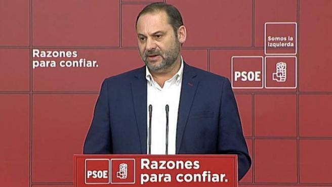 Ábalos, en su comparecencia en Ferraz en la noche electoral de las andaluzas.