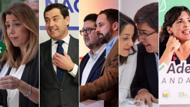 Candidatos a las elecciones de Andalucía 2018.