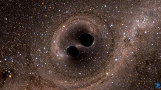 Recreación de la fusión de un sistema binario de agujeros negros.