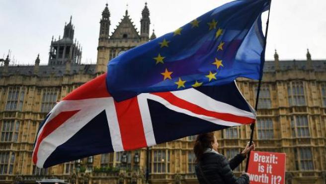 Activistas proeuropeos frente al Parlamento en Londres.