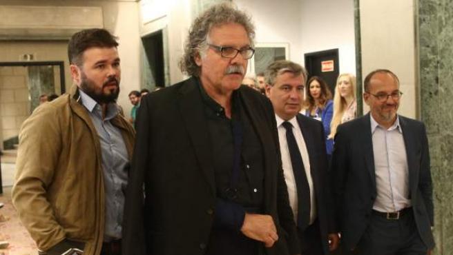 Rufián y Tardà, de ERC, y Xuclà y Campuzano, del PDeCAT.