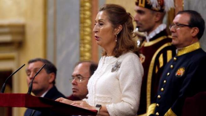 La presidenta del Congreso Ana Pastor, interviene en el acto de conmemoración del cuarenta aniversario de la Constitución.