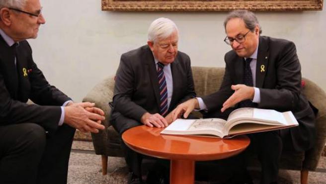 El presidente de la Generalitat, Quim Torra, y el expresidente de Eslovenia