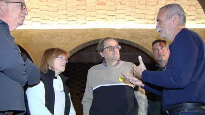 El presidente de la Generalitat, Quim Torra,a su llegada al depósito del Rei Martí, en el barrio de Sarrià de Barcelona, para participar en el ayuno.