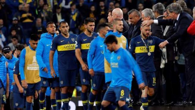 Los jugadores de Boca Juniors, tras perder la final de la Copa Libertadores ante River Plate.