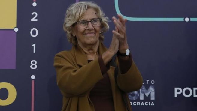 Manuela Carmena en un acto de Podemos el pasado mes de octubre.