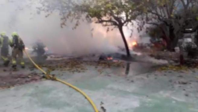 Incendio en la caseta del Camino de la Costa