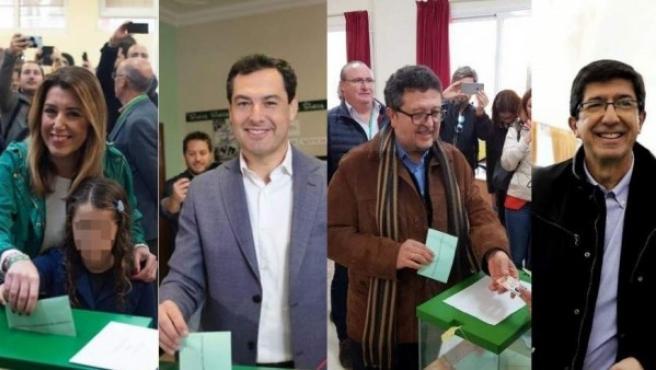 Susana Díaz, Juanma Moreno, Francisco Serrano y Juan Marín.