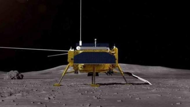Recreación artística de la sonda china Chang'e 4 posada sobre la superficie lunar.