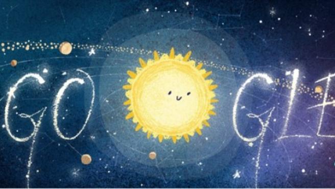 Doodle de Google celebrando las gemínidas.
