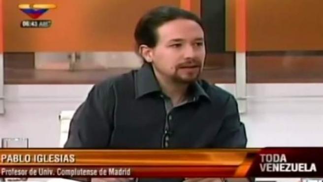 Pablo Iglesias, entrevistado en la televisión venezolana en 2013.