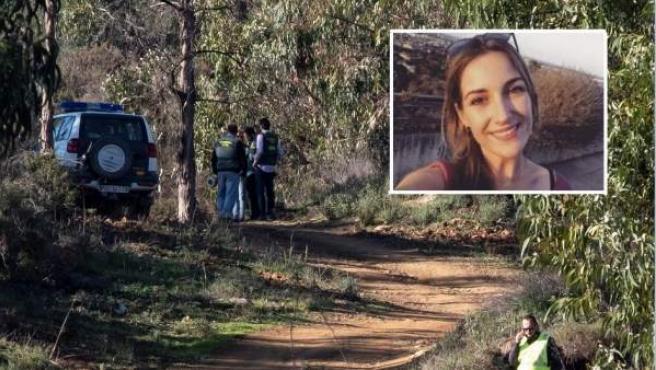 Efectivos de la Guardia Civil inspeccionan el paraje La Mimbrera en el término municipal de El Campillo (Huelva) donde se ha encontrado el cadáver.