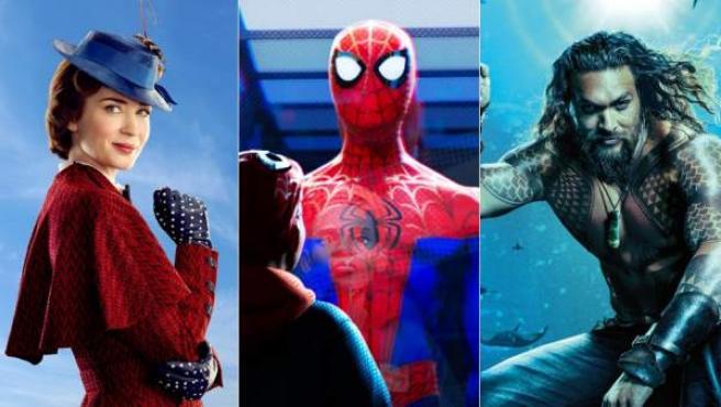 'El regreso de Mary Poppins', 'Spider-man: Un nuevo universo' y 'Aquaman.
