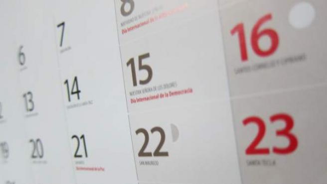 Calendario laboral para el 2019.