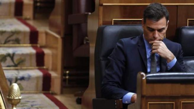 El presidente del Gobierno, Pedro Sánchez, durante la última sesión de control al Ejecutivo de 2018.