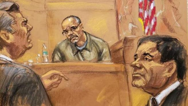 Ilustración en la que aparece el abogado Jeffrey Lichtman (i) mientras pregunta al testigo Jorge Cifuentes (c) frente a su cliente, el narcotraficante mexicano Joaquín 'El Chapo' Guzmán (d), en el tribunal del Distrito Sur en Brooklyn, Nueva York.